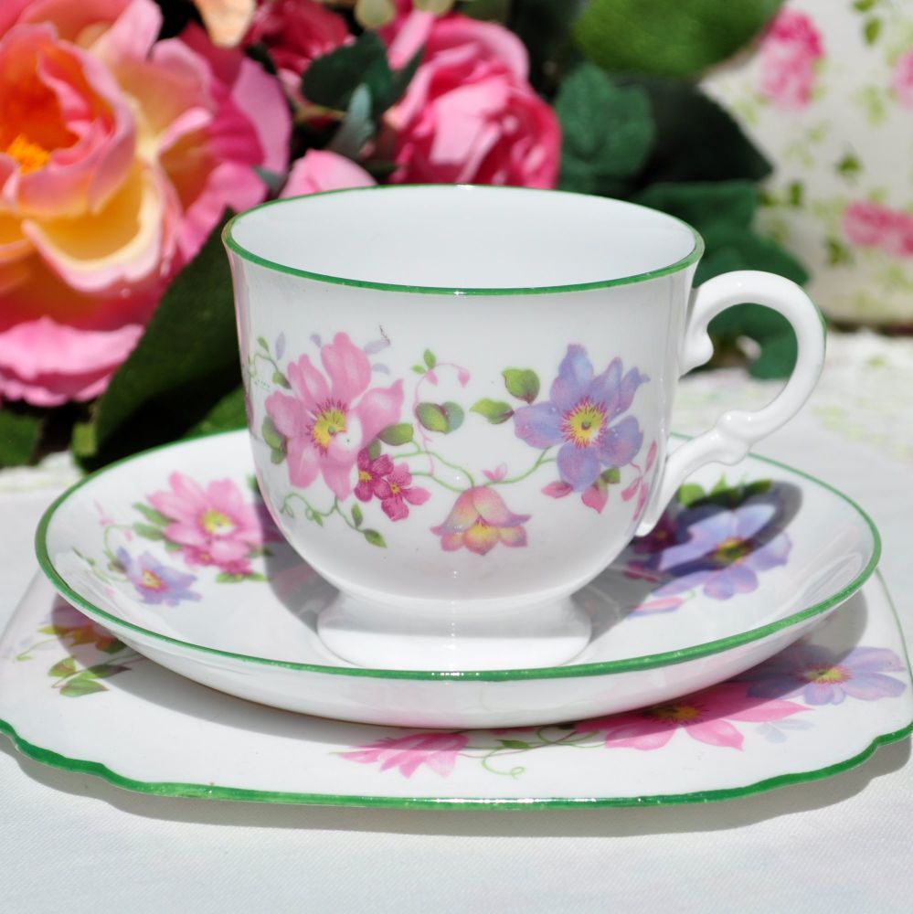 Tuscan Green Rimmed Floral Teacup Trio c.1936+