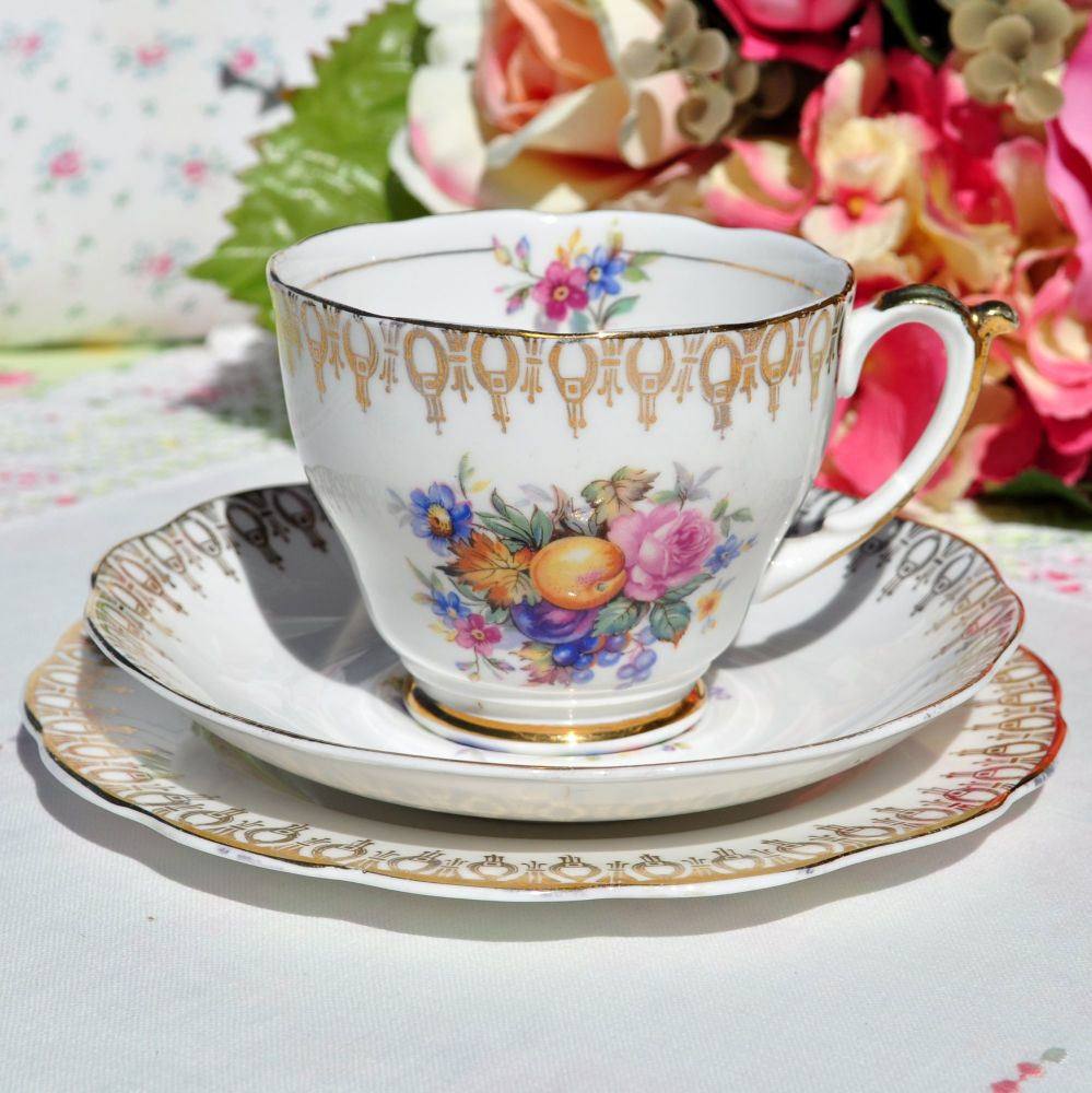 Floral Gold Filigree Teacup Trio c.1950s