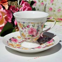 Chintz Daffodils and Primroses Teacup and Saucer