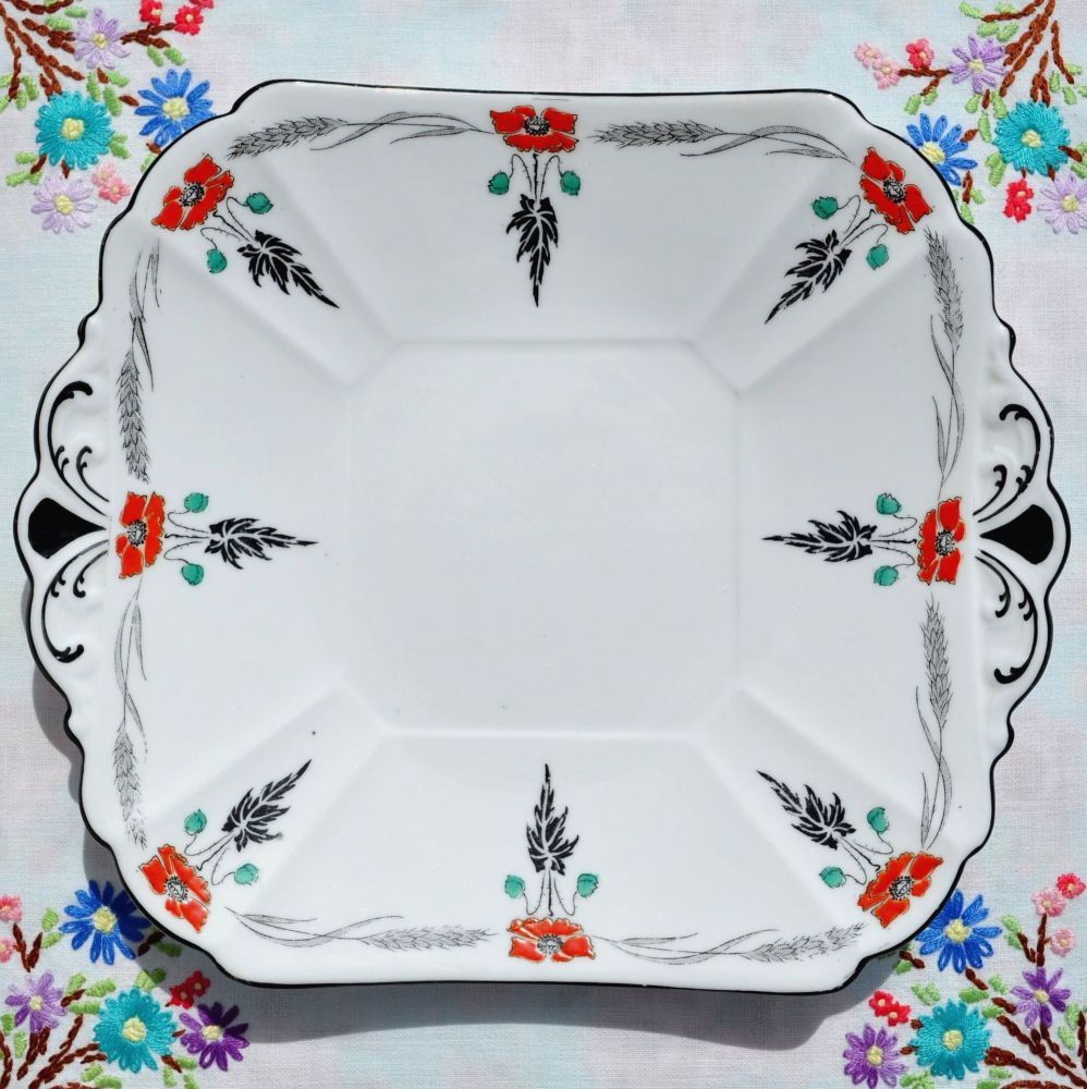 Shelley Art Deco Hand Painted Cake Plate