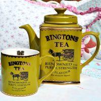 Ringtons Heritage Green Teapot and Mug c.1970s