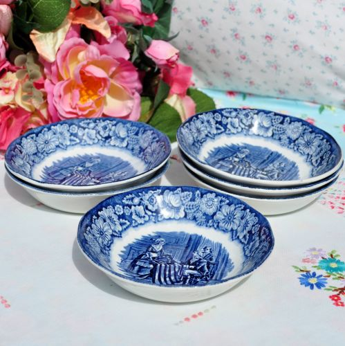 Liberty Blue Historic Colonial Scenes Fruit Dish Set