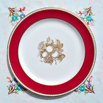 Spode Red and Gold 26 cm Dinner Plate c.1970s
