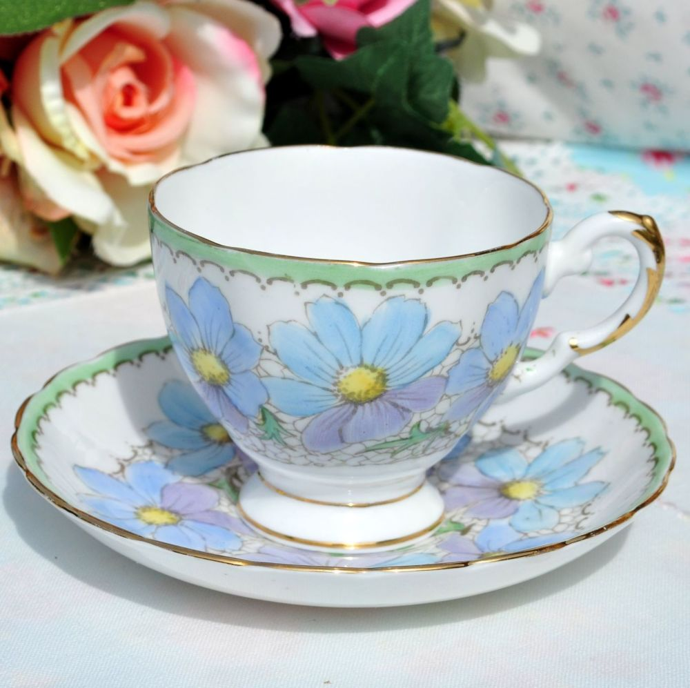 Tuscan Blue and Lilac Teacup and Saucer c.1936+