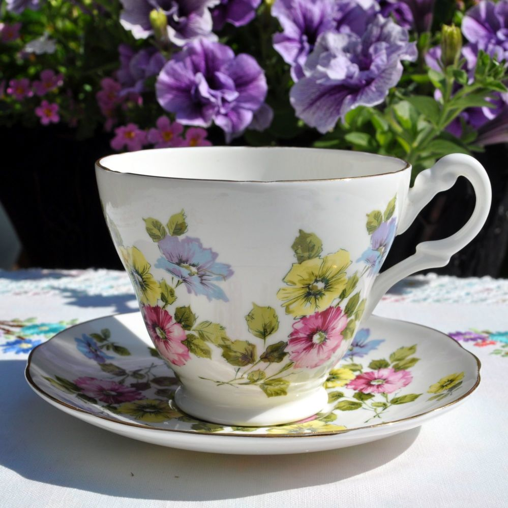 Staffordshire Floral Breakfast Teacup and Saucer