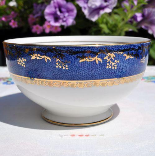 Salisbury Blue and Gold Border Sugar Bowl c.1930s