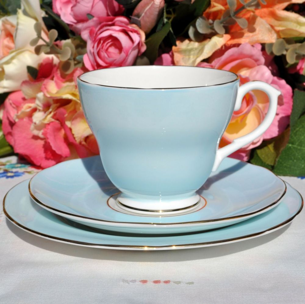 Duchess Pale Blue Vintage Tea Cup Trio
