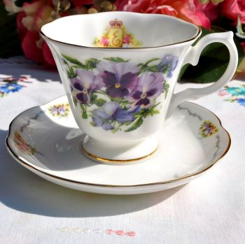 Royal Stratford Pansies Teacup and Saucer c.1907s