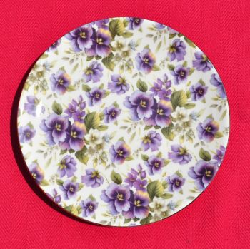 Sheltonian Chintz Purple Pansies Side Plate