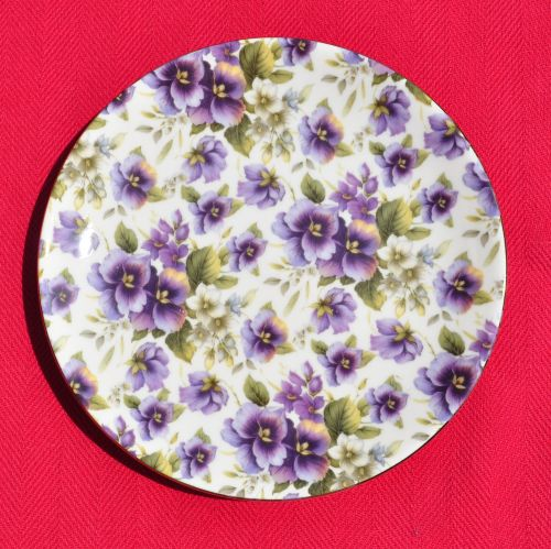 Sheltonian Chintz Purple Pansies Side Plate
