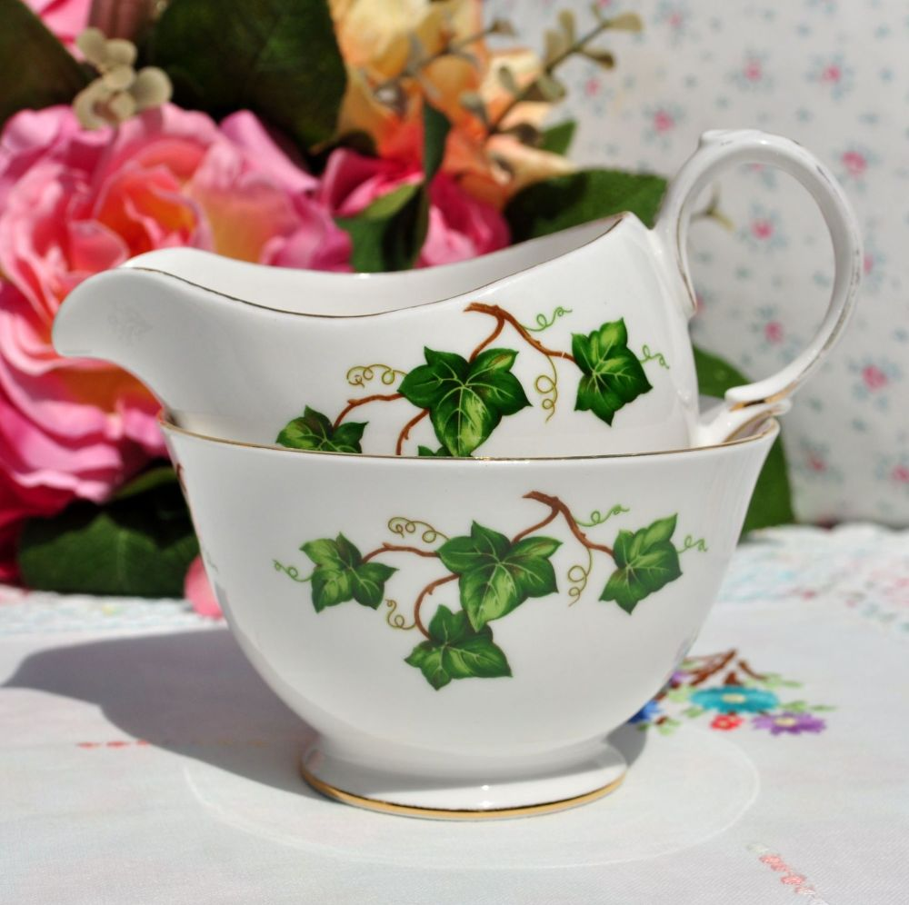 Green Ivy Leaf Milk Jug and Sugar Bowl by Colclough