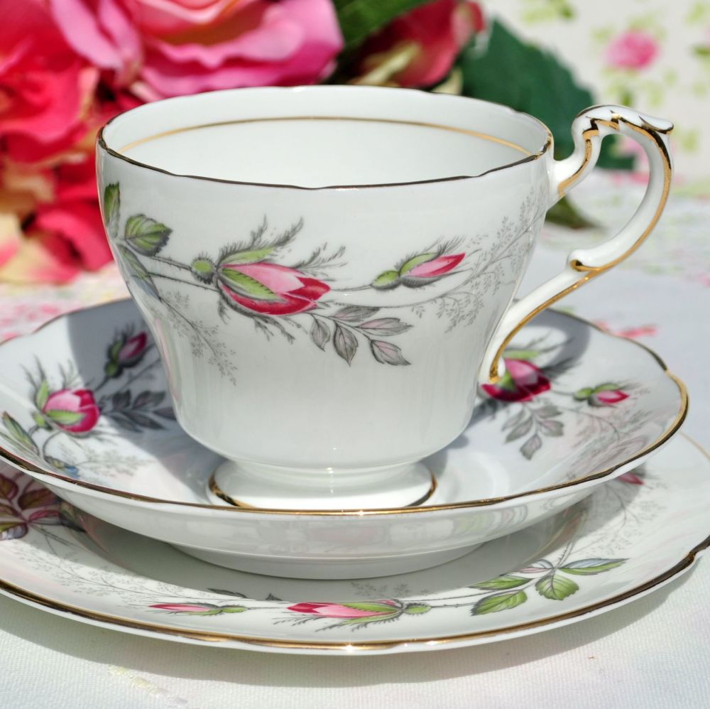 Paragon Bridal Rose Vintage Fine China Teacup Trio c.1957+
