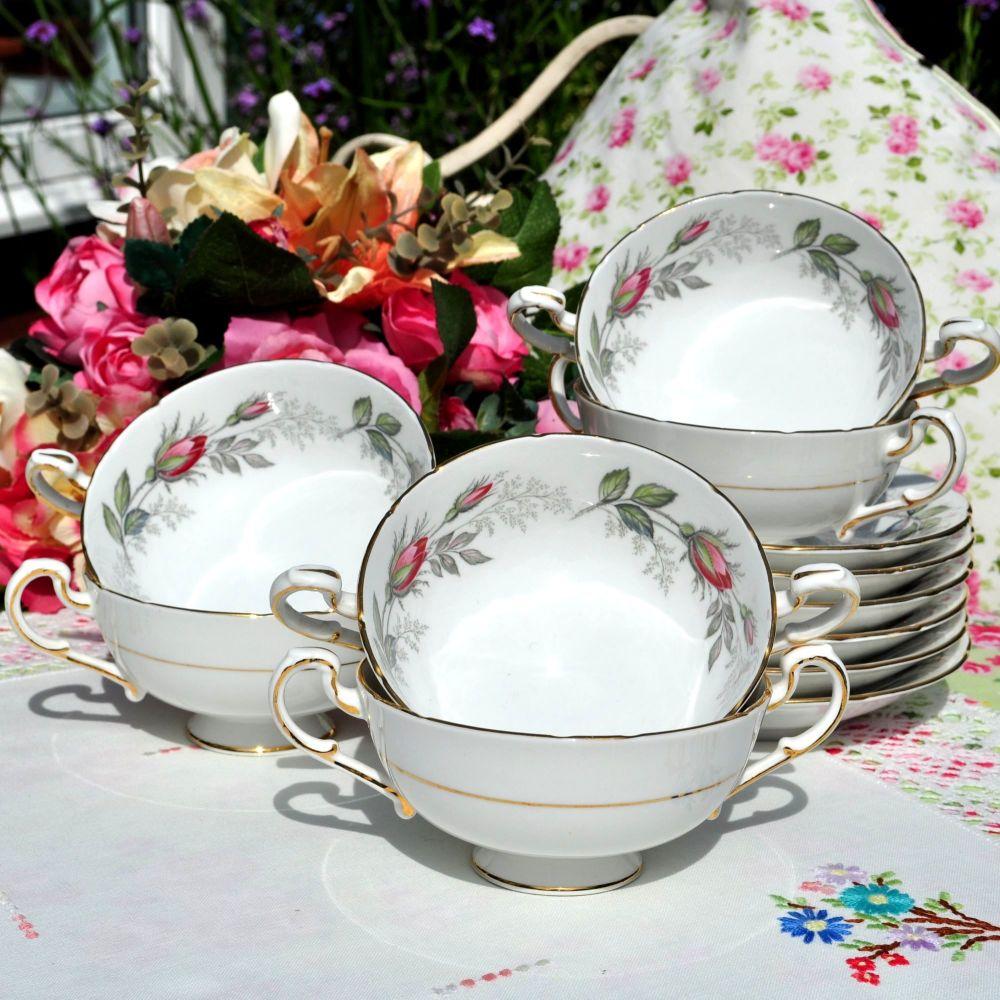 Paragon Bridal Rose Soup Bowl-Coupe and Saucer Set