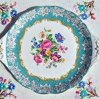 Royal Albert Enchantment Turquoise Border Cake Plate