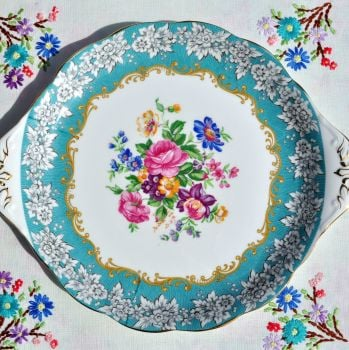 Royal Albert Enchantment Turquoise Border Cake Plate