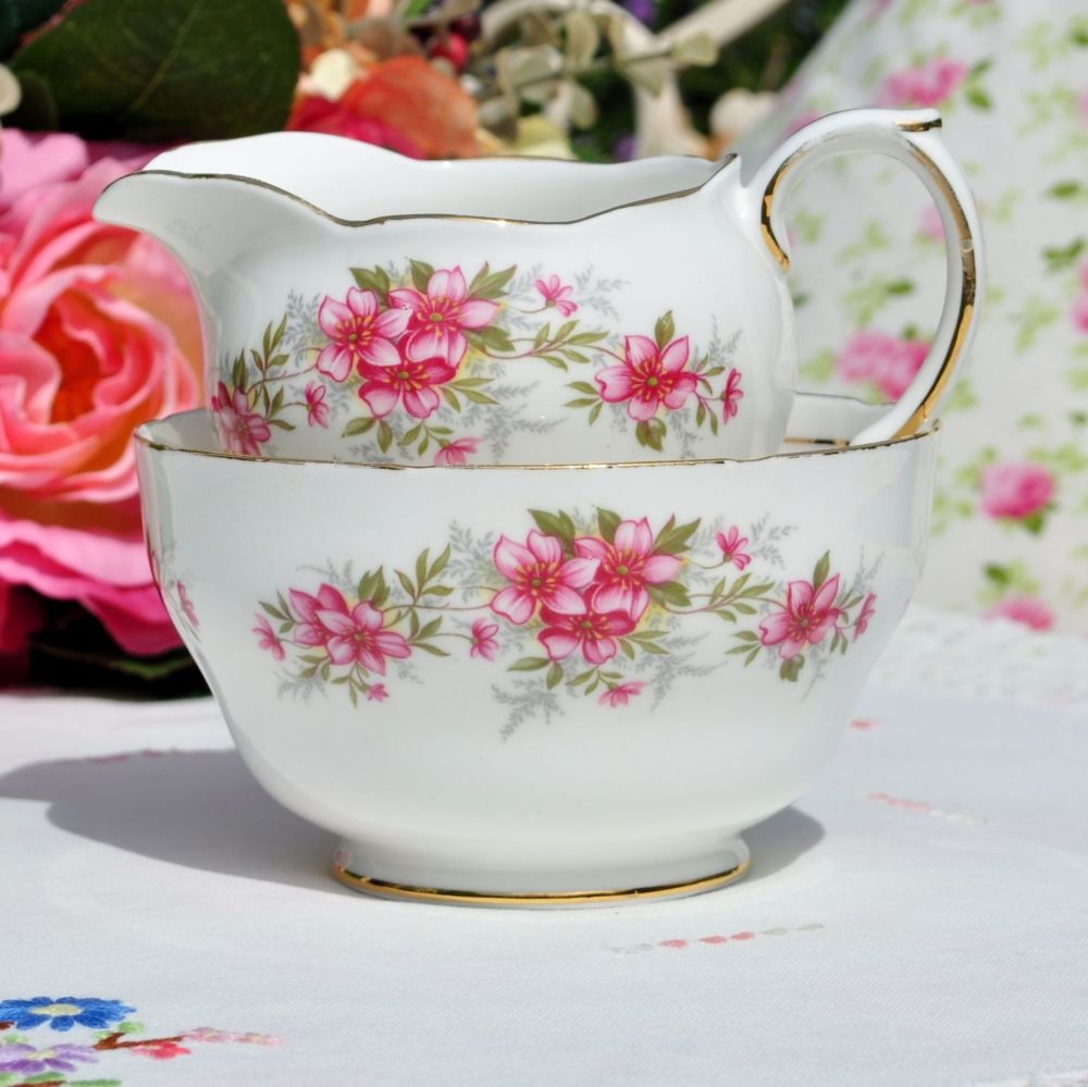 Duchess Pink Floral Milk Jug and Sugar Bowl