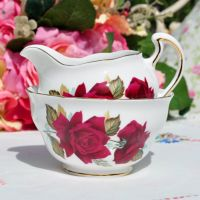 Royal Vale Red Roses Milk Jug and Sugar Bowl c.1960s