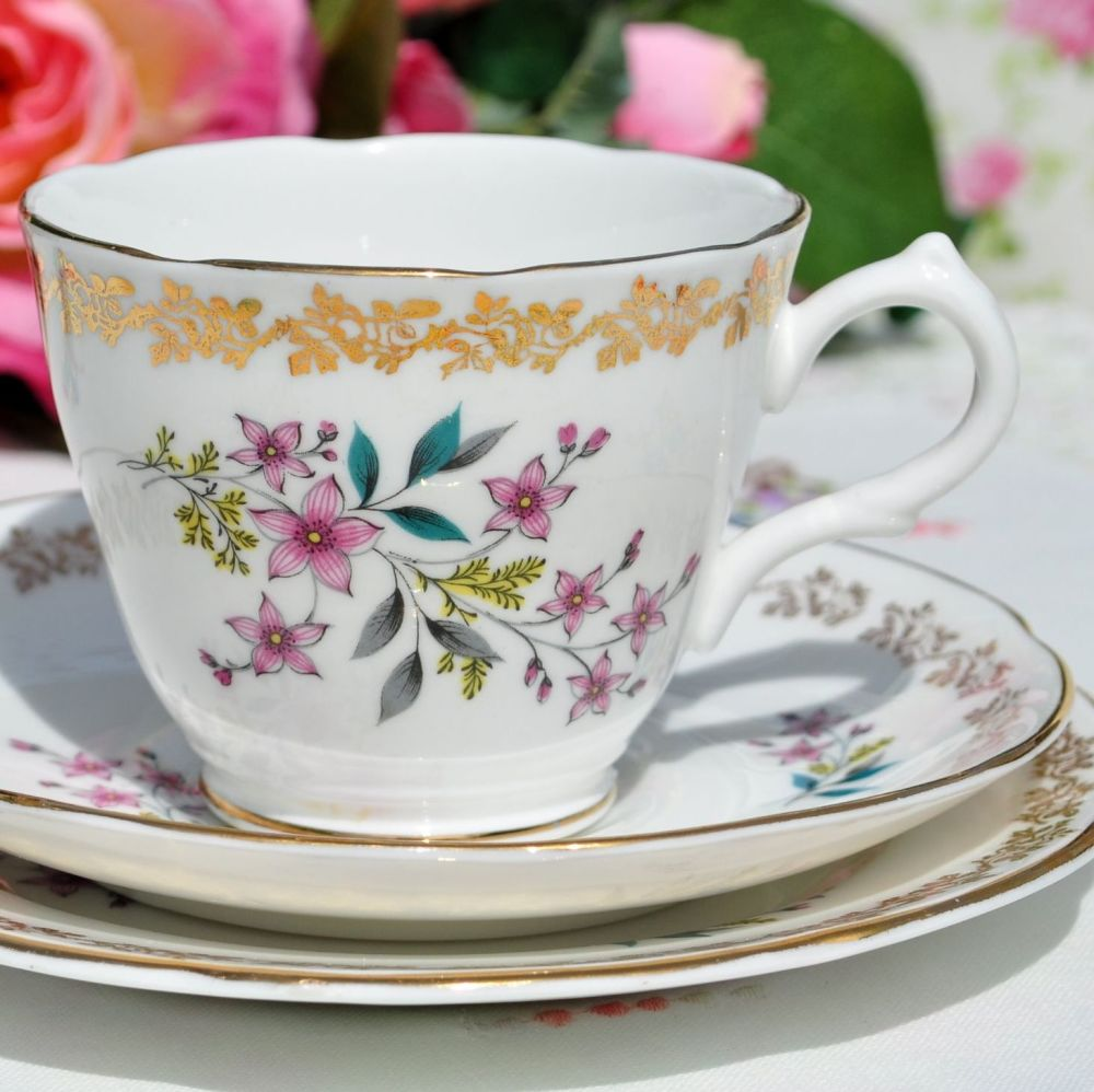 Royal Grafton Gold Floral Vintage Teacup Trio c.1957+