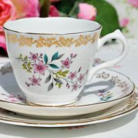 Royal Grafton Gold Floral Teacup Trio c.1957+