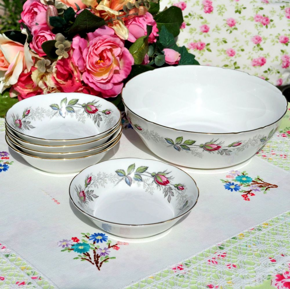 Paragon Bridal Rose 6 Piece Dessert Set c.1957+
