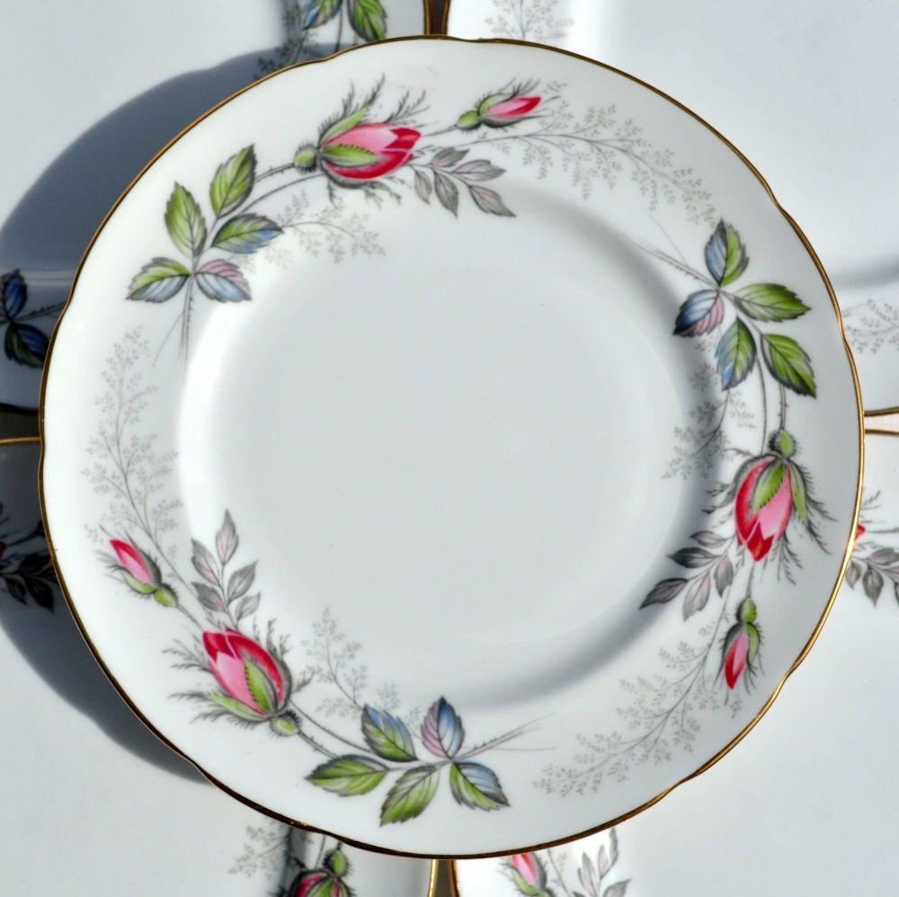 Paragon Bridal Rose Six Tea Plates c.1957+
