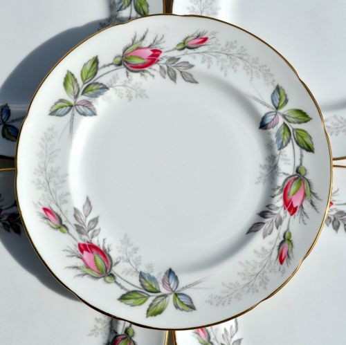 Paragon Bridal Rose Six Tea Plates c.1957+