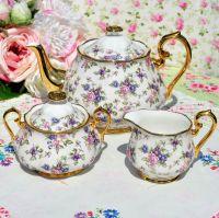 Royal Albert 1940's Style Chintz Teapot, Milk Jug, Sugar Bowl