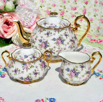 Royal Albert 1940's English Chintz Teapot, Milk Jug, Sugar Bowl
