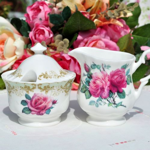 Pink Roses China Milk Jug and Lidded Sugar Bowl