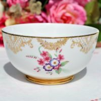 Floral Gold Filigree Bone China Sugar Bowl c.1930's