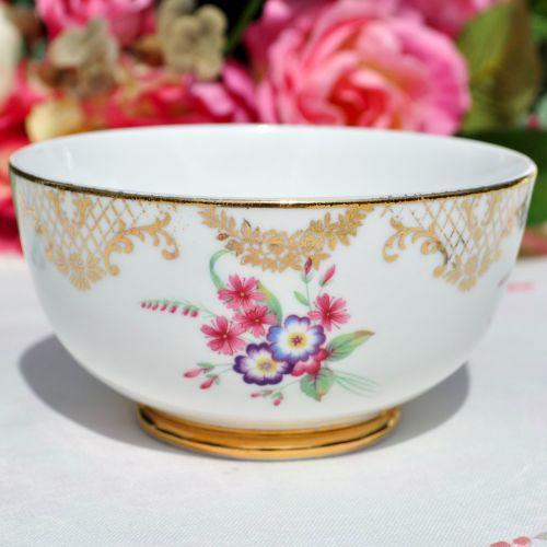 Floral Gold Filigree Bone China Sugar Bowl c.1930's