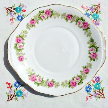 Colclough Enchantment Pink Roses Cake Serving Plate c.1960's