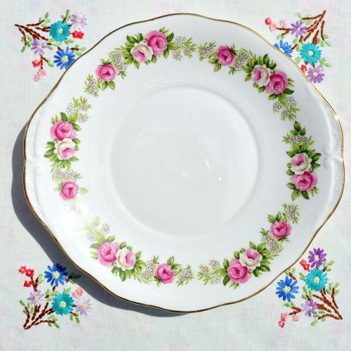 Colclough Enchantment Pink Roses Cake Serving Plate c.1960's