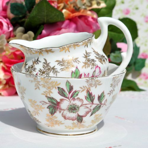 Rose Filigree Milk Jug and Sugar Bowl c.1940's