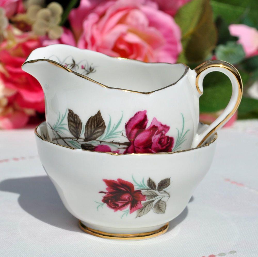Adderley Persian Rose Small Milk Jug and Sugar Bowl