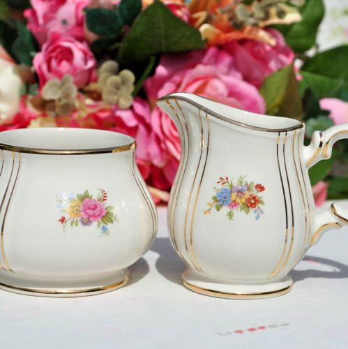Sadler Gold Floral Small Milk Jug and Sugar Bowl