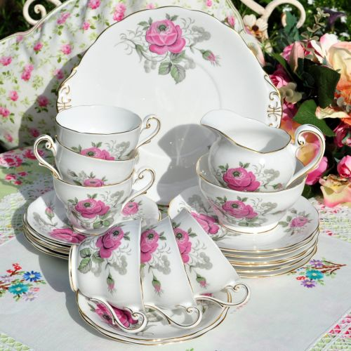 Royal Standard Pink Rose 21 Piece Tea Set