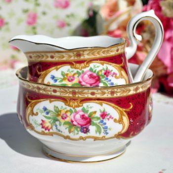 Royal Albert Lady Hamilton Creamer and Sugar Bowl c.1960's