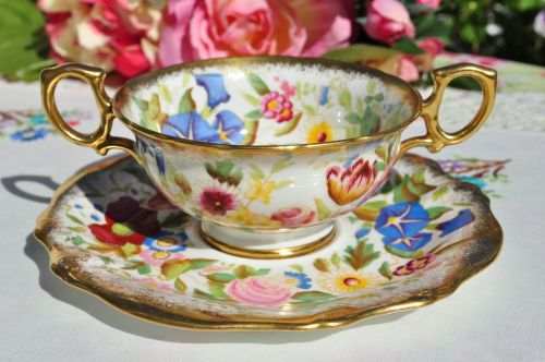 Hammersley Queen Anne Soup Coupe and Saucer c.1950's