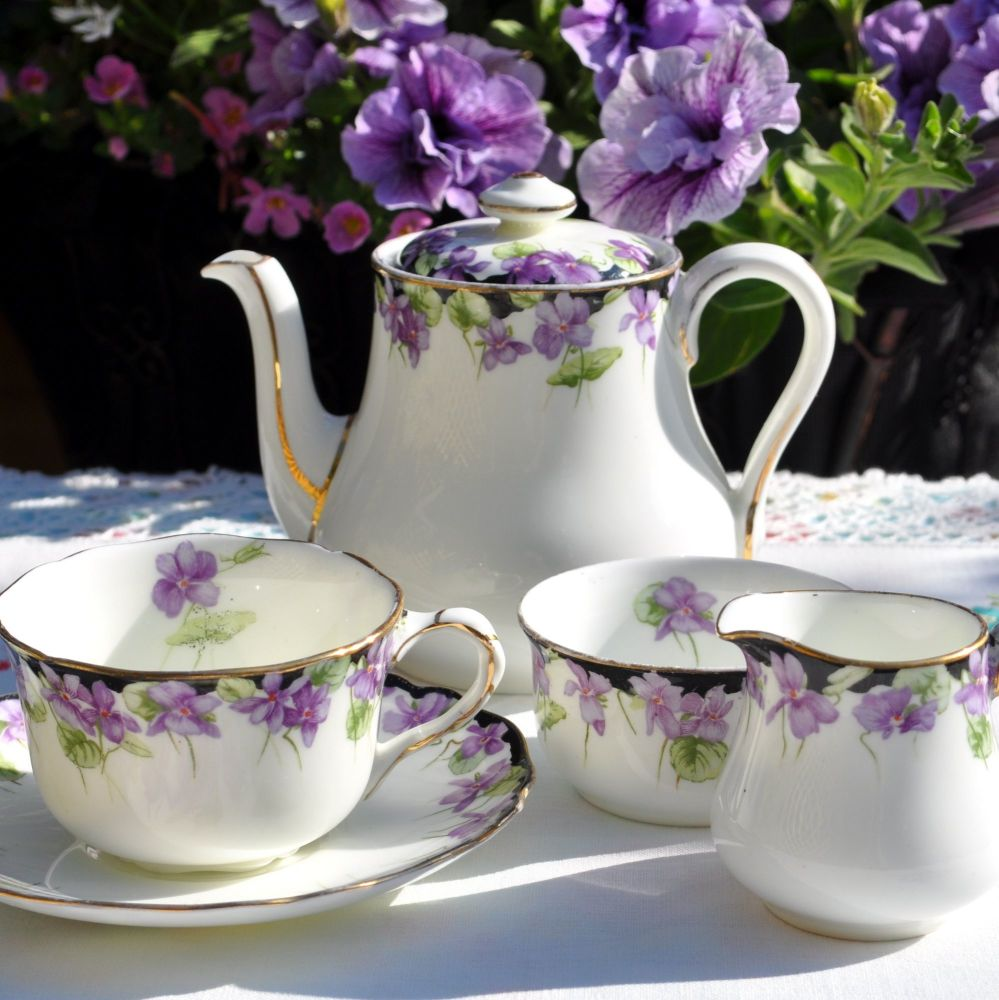 Royal Doulton Antique Wild Violets 6 Piece Tea Set
