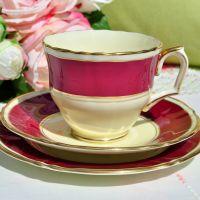 Crown Staffordshire Raspberry Cream Teacup Trio c.1930s