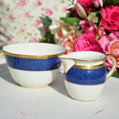 Antique Cauldon Bone China Milk Jug & Sugar Bowl c.1900's