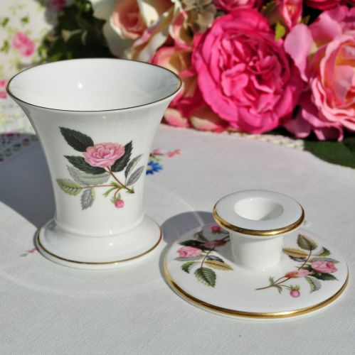 Wedgwood Hathaway Rose Posie Vase and Candle Holder
