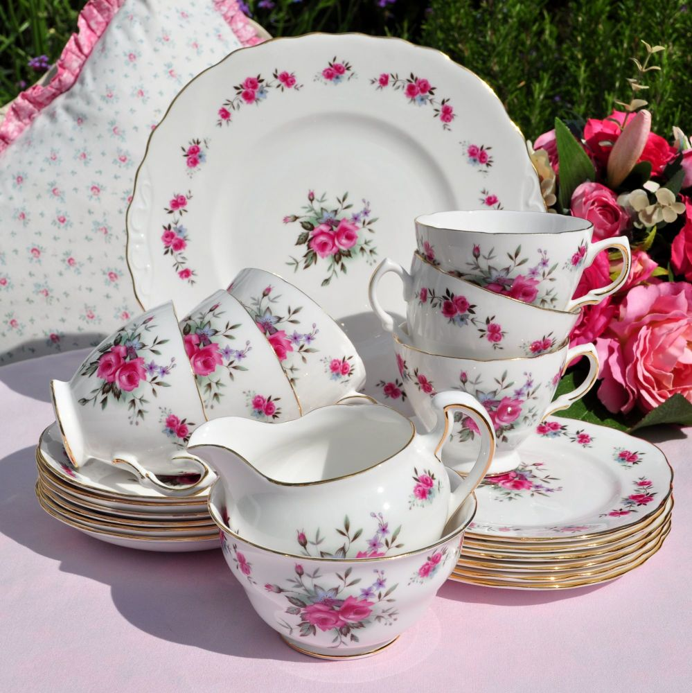 Queen Anne Rose Spray 21 Piece Tea Set c.1960's
