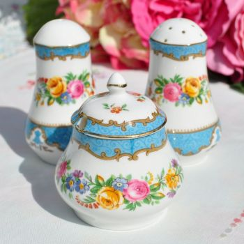Crown Staffordshire Tunis Blue 3 Piece Condiment Set
