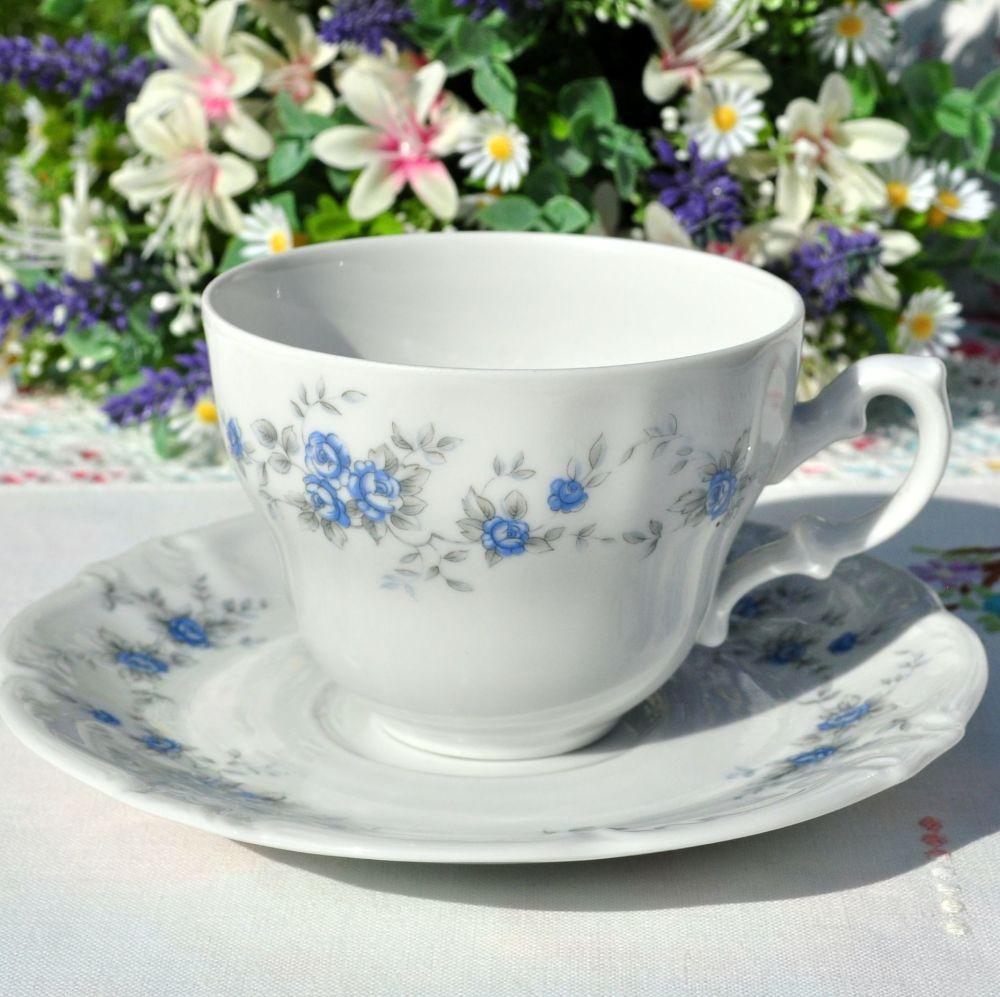 Winterling Schwarzenbach Blue Rose Teacup and Saucer