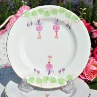 Hand Painted Fuscia Tea Plates Set c.1954-9