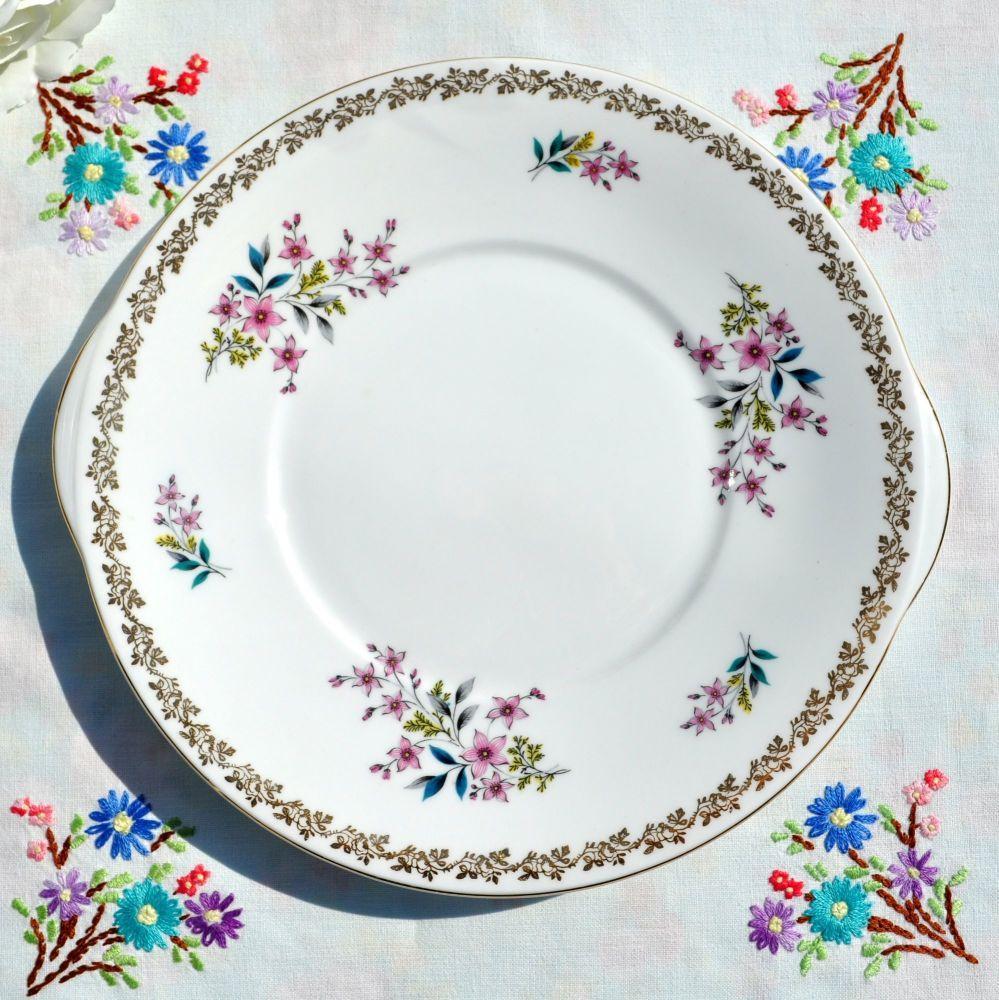 Royal Grafton Gold Garland Floral Cake Plate c.1957