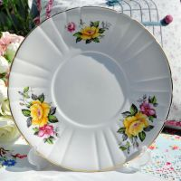 Royal Grafton Yellow and Pink Rose Cake Plate c.1950+