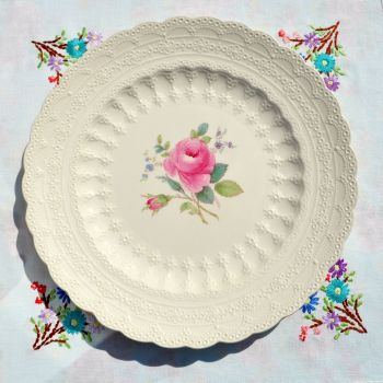 Spode's Jewel Billingsley Rose Embossed Creamware Plate